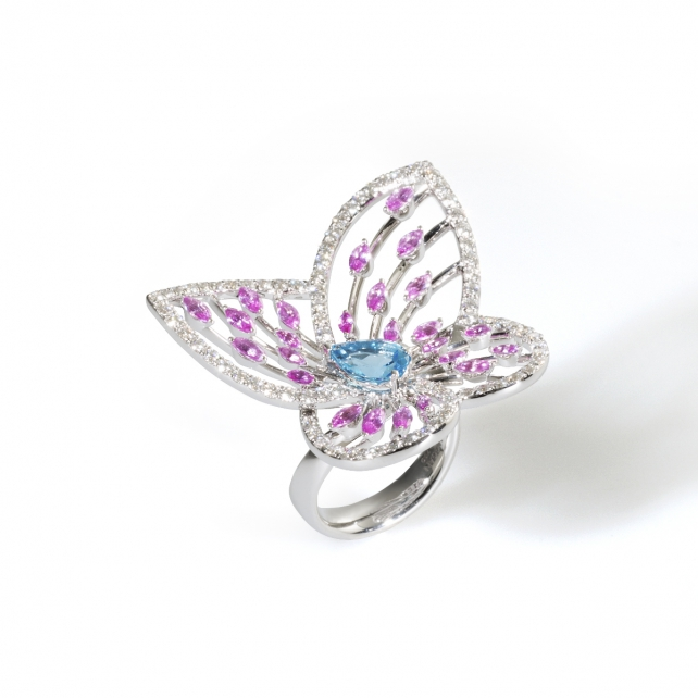 BLUE TOPAZ MARBLED WHITE BUTTERFLY RING