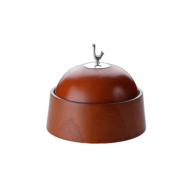 BOWL WITH LEATHER LID SMALL