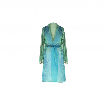 Ebru Patterned Silk Bathrobe