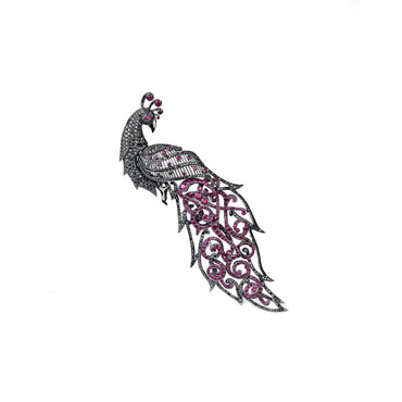Ruby Peacock Brooch