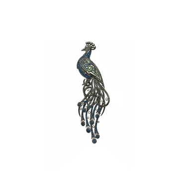 Sapphire and Emerald Peacock Brooch