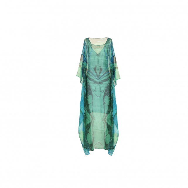 EBRU PATTERNED SILK CAFTAN