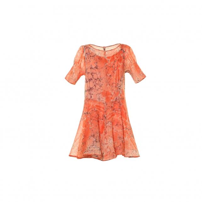 EBRU PATTERNED WOOL DRESS
