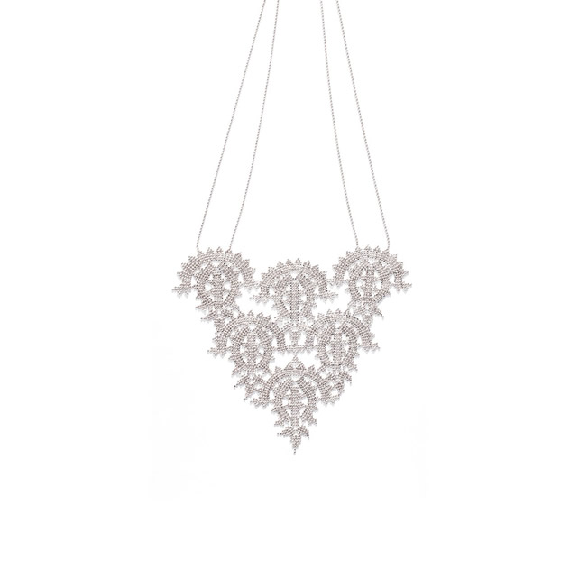 PLATINUM NEEDLE LACE NECKLACE