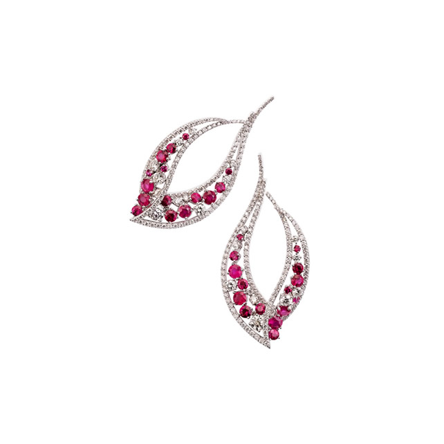 RUBY LEAF EARRINGS