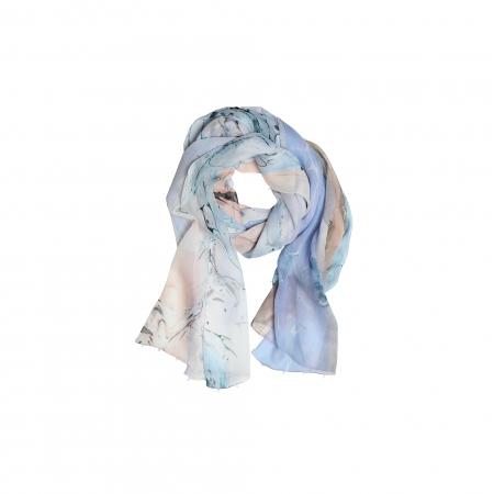 Ebru Patterned Silk Scarf
