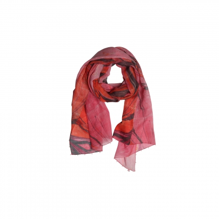 Ebru Patterned Wool Scarf