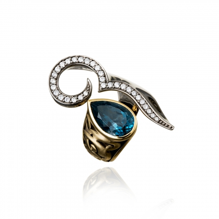 London Blue Drop Ring