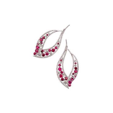 Ruby Leaf Earrings