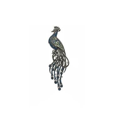Safir ve Zümrüt Tavus Kuşu Broş