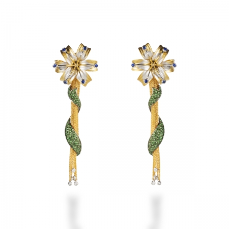 Sapphire Lily Earring