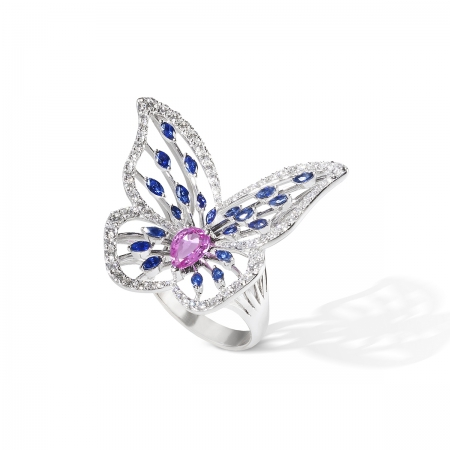Sapphire Marbled White Butterfly Ring